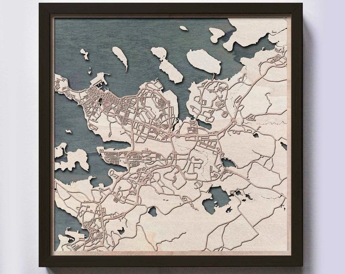 Reykjavik Wood Map - 5th Anniversary Gift - Custom Wooden Map Laser Cut Framed Maps Wall Art - Wedding Engagement Gift for Couple