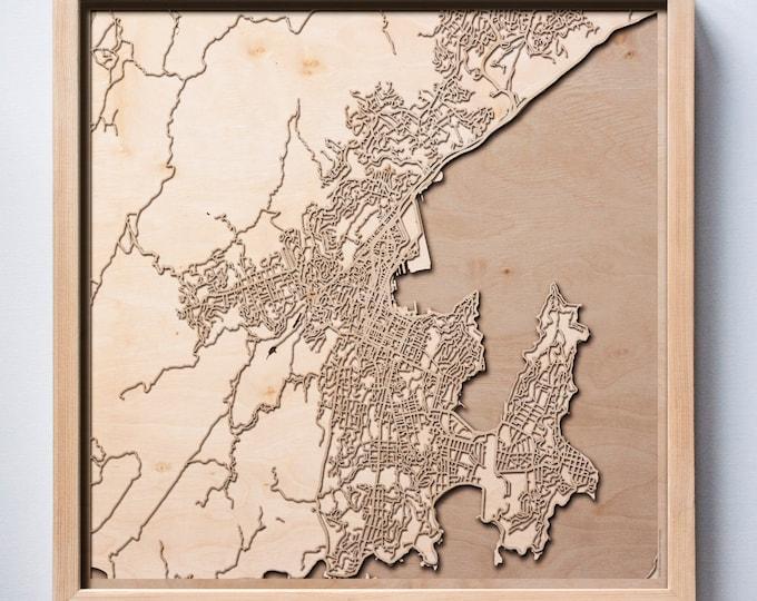 Wellington Wooden Map - Laser Cut Wood Streets Maps 3d Framed Minimal Minimalist Wall Art - Birthday Anniversary Christmas Wedding Gift