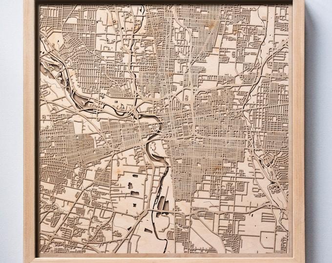 Columbus Wooden Map - Laser Cut Wood Streets City Maps 3d Framed Minimal Minimalist Wall Art - Birthday Anniversary Christmas Wedding Gift