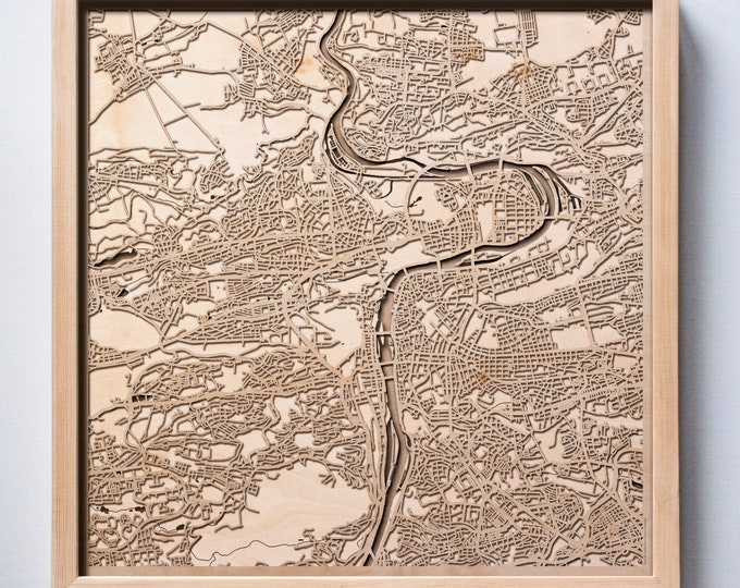 Prague Wooden Map - Laser Cut Wood Streets City Maps 3d Framed Minimal Minimalist Wall Art - Birthday Anniversary Christmas Wedding Gift