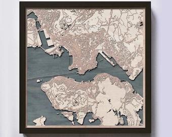 Hong Kong Wood Map - 5th Anniversary Gift - Custom Wooden Map Laser Cut Framed Maps Wall Art - Wedding Engagement Gift for Couple
