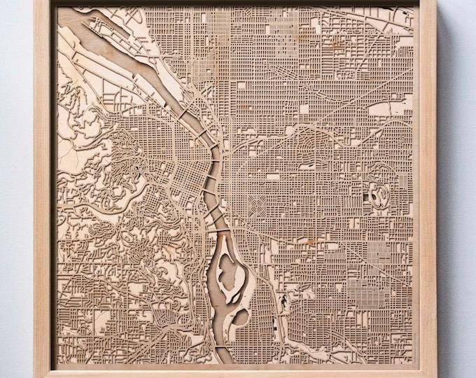 Portland Wooden Map - Pinewood Laser Cut Streets City Maps 3d Framed Minimal Minimalist Wall Art Wood - Birthday Christmas Wedding Gift