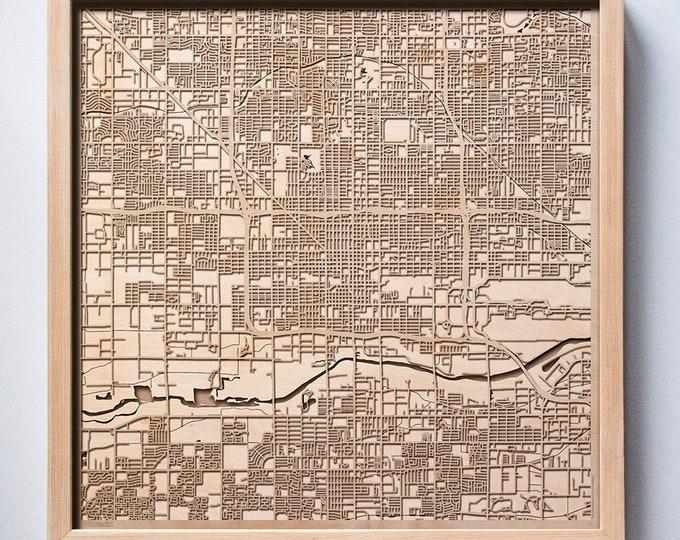 Phoenix Wooden Map - Laser Cut Wood Streets City Maps 3d Framed Minimal Minimalist Wall Art - Birthday Anniversary Christmas Wedding Gift