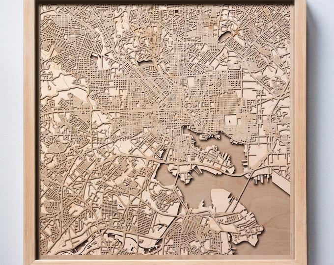 Baltimore Wooden Map - Pinewood Laser Cut Streets City Maps 3d Framed Minimal Minimalist Wall Art Wood - Birthday Christmas Wedding Gift