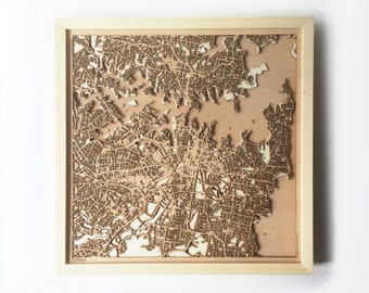 Sydney Wooden Map -Laser Cut Wood Streets City Maps 3d Framed Minimal Minimalist Wall Art - Birthday Anniversary Christmas Wedding Gift