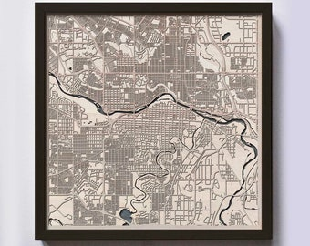 Calgary Wood Map - 5th Anniversary Gift - Custom Wooden Map Laser Cut Framed Maps Wall Art - Wedding Engagement Gift for Couple