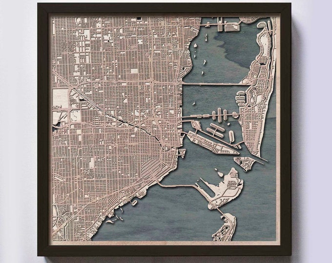 Miami Wood Map - 5th Anniversary Gift - Custom Wooden Map Laser Cut Framed Maps Wall Art - Wedding Engagement Gift for Couple