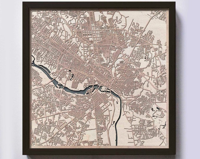 Richmond Wood Map - 5th Anniversary Gift - Custom Wooden Map Laser Cut Framed Maps Wall Art - Wedding Engagement Gift for Couple