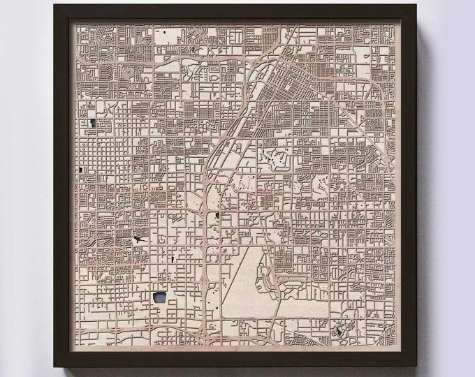 Las Vegas Wood Map - 5th Anniversary Gift - Custom Wooden Map Laser Cut Framed Maps Wall Art - Wedding Engagement Gift for Couple