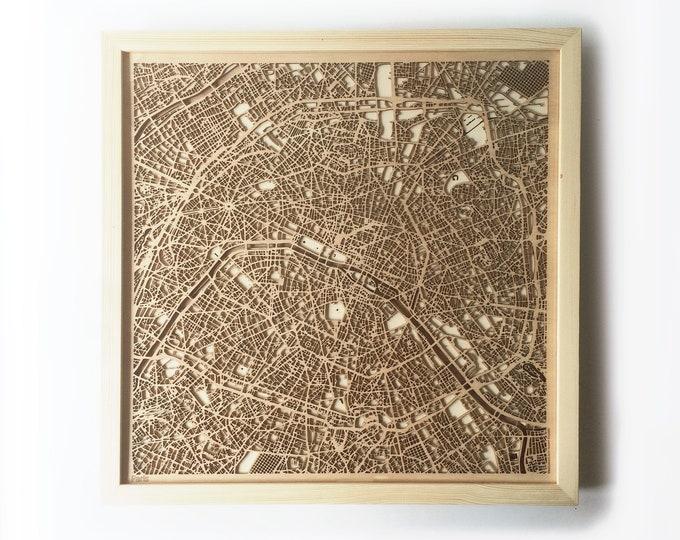 Paris Wooden Map - Pinewood Laser Cut Wood Streets City Maps 3d Framed Minimal Minimalist Wall Art - Birthday Christmas Wedding Gift