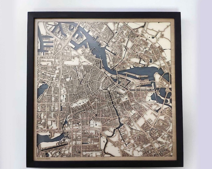 Amsterdam Wood Map - 5th Anniversary Gift - Custom Wooden Map Laser Cut Framed Maps Wall Art - Wedding Engagement Gift for Couple