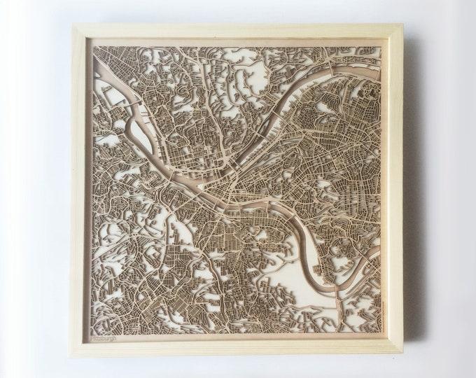 Pittsburgh Wooden Map - Pinewood Laser Cut Streets City Maps 3d Framed Minimal Minimalist Wall Art Wood - Birthday Christmas Wedding Gift