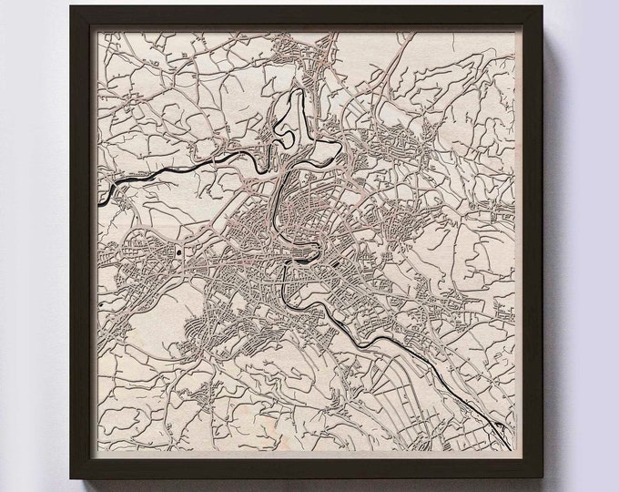Bern Wood Map - 5th Anniversary Gift - Custom Wooden Map Laser Cut Framed Maps Wall Art - Wedding Engagement Gift for Couple