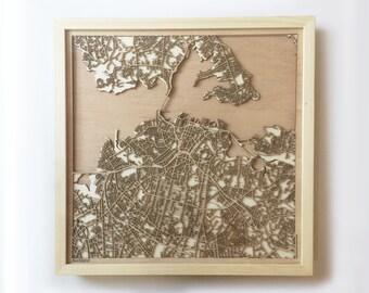 Auckland Wooden Map - Laser Cut Wood Streets Maps 3d Framed Minimal Minimalist Wall Art - Birthday Anniversary Christmas Wedding Gift