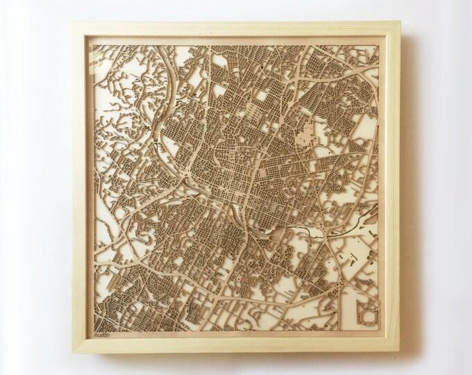 Austin Wooden Map - Pinewood Laser Cut Streets City Maps 3d Framed Minimal Minimalist Wall Art Wood - Birthday Christmas Wedding Gift