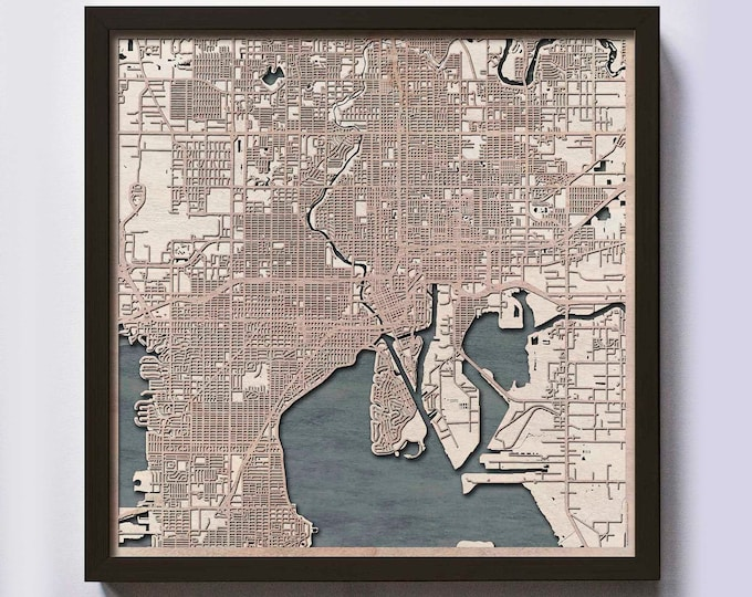 Tampa Wood Map - 5th Anniversary Gift - Custom Wooden Map Laser Cut Framed Maps Wall Art - Wedding Engagement Gift for Couple