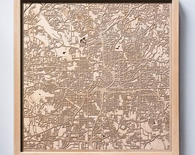 Atlanta Wooden Map - Black Laser Cut Wood Streets City Maps 3d Framed Minimal Minimalist Wall Art -Birthday Christmas Wedding Gift
