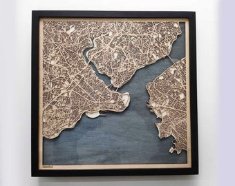 Istanbul Wood Map - 5th Anniversary Gift - Custom Wooden Map Laser Cut Framed Maps Wall Art - Wedding Engagement Gift for Couple