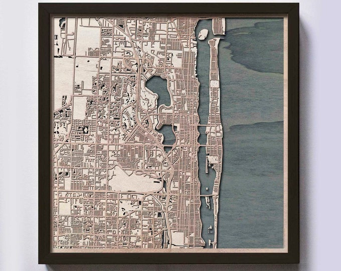 Palm Beach Wood Map - 5th Anniversary Gift - Custom Wooden Map Laser Cut Framed Maps Wall Art - Wedding Engagement Gift for Couple