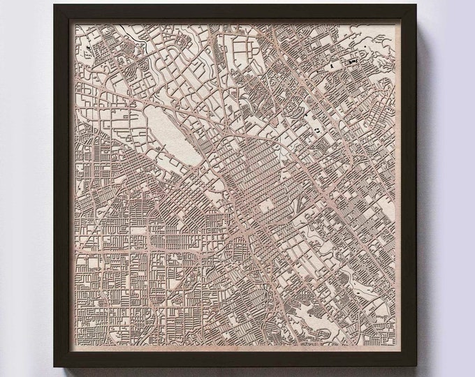San Jose Wood Map - 5th Anniversary Gift - Custom Wooden Map Laser Cut Framed Maps Wall Art - Wedding Engagement Gift for Couple