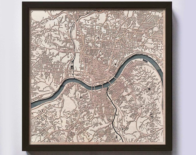 Cincinnati Wood Map - 5th Anniversary Gift - Custom Wooden Map Laser Cut Framed Maps Wall Art - Wedding Engagement Gift for Couple