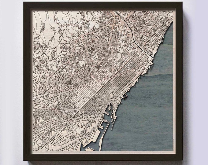 Barcelona Wood Map - 5th Anniversary Gift - Custom Wooden Map Laser Cut Framed Maps Wall Art - Wedding Engagement Gift for Couple