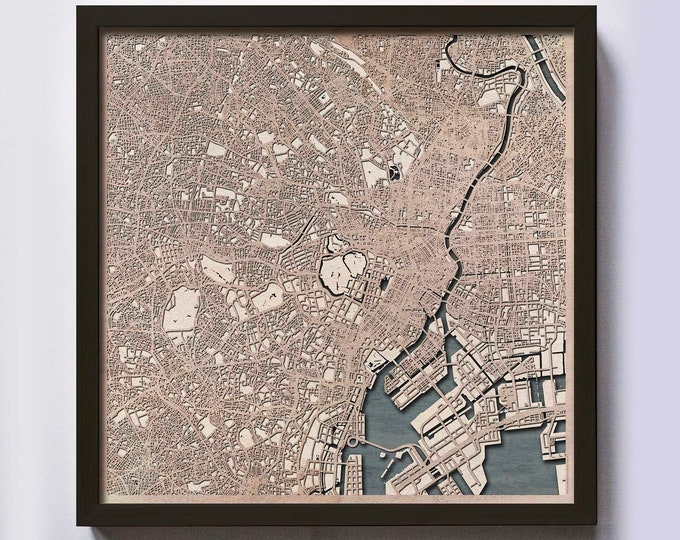 Tokyo Wood Map - 5th Anniversary Gift - Custom Wooden Map Laser Cut Framed Maps Wall Art - Wedding Engagement Gift for Couple