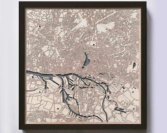Hamburg Wood Map - 5th Anniversary Gift - Custom Wooden Map Laser Cut Framed Maps Wall Art - Wedding Engagement Gift for Couple