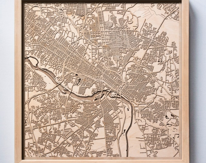 Richmond Wooden Map -Laser Cut Wood Streets City Maps 3d Framed Minimal Minimalist Wall Art - Birthday Anniversary Christmas Wedding Gift