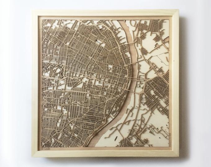 St. Louis Wooden Map - Laser Cut Wood Streets Maps 3d Framed Minimal Minimalist Wall Art - Birthday Anniversary Christmas Wedding Gift