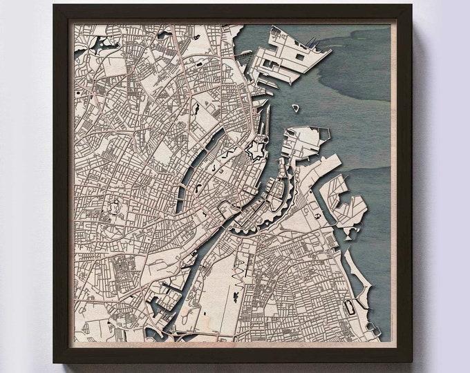 Copenhagen Wood Map - 5th Anniversary Gift - Custom Wooden Map Laser Cut Framed Maps Wall Art - Wedding Engagement Gift for Couple