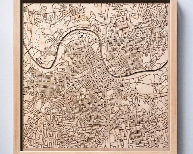 Nashville Wooden Map -Laser Cut Wood Streets City Maps 3d Framed Minimal Minimalist Wall Art - Birthday Anniversary Christmas Wedding Gift