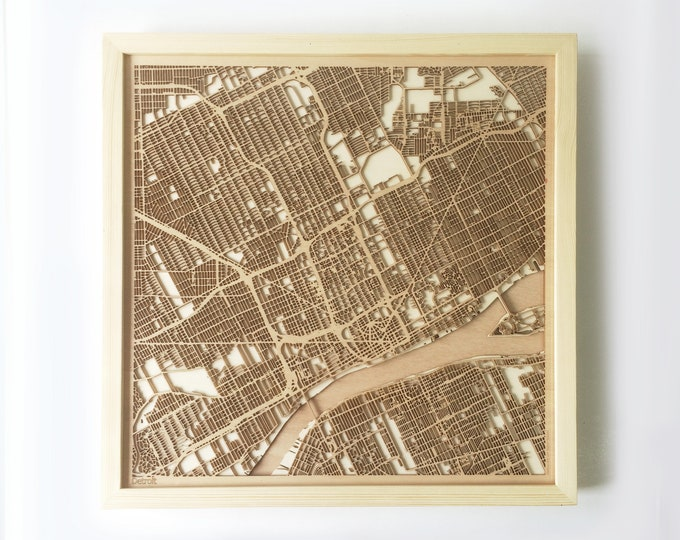 Detroit Wooden Map -Laser Cut Wood Streets City Maps 3d Framed Minimal Minimalist Wall Art - Birthday Anniversary Christmas Wedding Gift