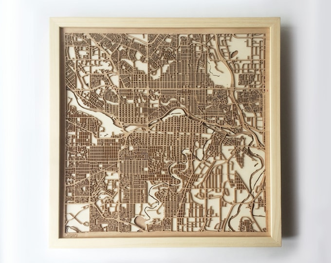Calgary Wooden Map - Pinewood Laser Cut Streets City Maps 3d Framed Minimal Minimalist Wall Art Wood - Birthday Christmas Wedding Gift