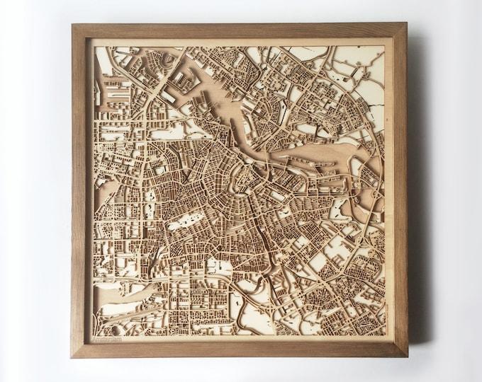 Amsterdam Wooden Map - Walnut Laser Cut Wood Streets City Maps 3d Framed Minimal Minimalist Wall Art - Birthday Christmas Wedding Gift