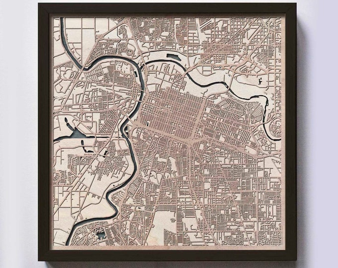 Sacramento Wood Map - 5th Anniversary Gift - Custom Wooden Map Laser Cut Framed Maps Wall Art - Wedding Engagement Gift for Couple