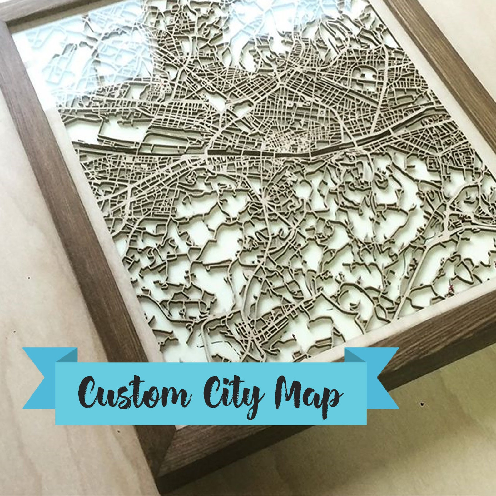 Personalized Wooden Map -Any City