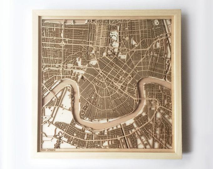 New Orleans Wooden Map - Pinewood Laser Cut Wood Streets City Maps 3d Framed Minimal Minimalist Wall Art -Birthday Christmas Wedding Gift