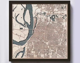 Memphis Wood Map - 5th Anniversary Gift - Custom Wooden Map Laser Cut Framed Maps Wall Art - Wedding Engagement Gift for Couple