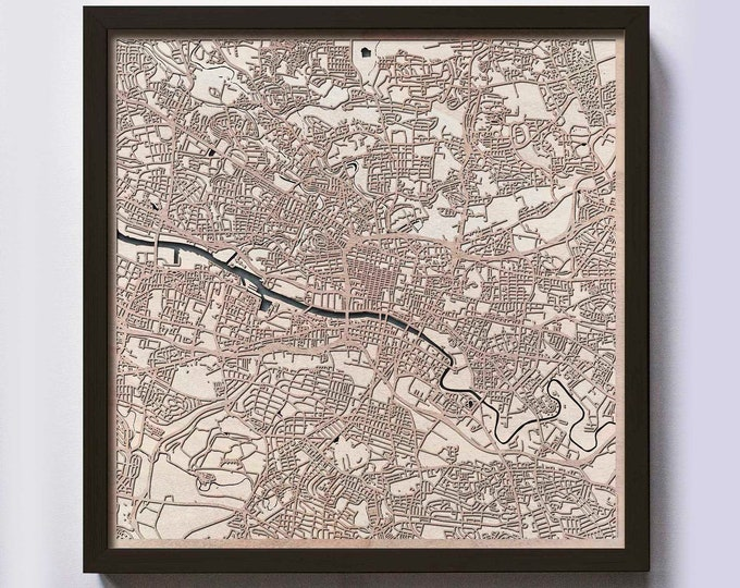 Glasgow Wood Map - 5th Anniversary Gift - Custom Wooden Map Laser Cut Framed Maps Wall Art - Wedding Engagement Gift for Couple