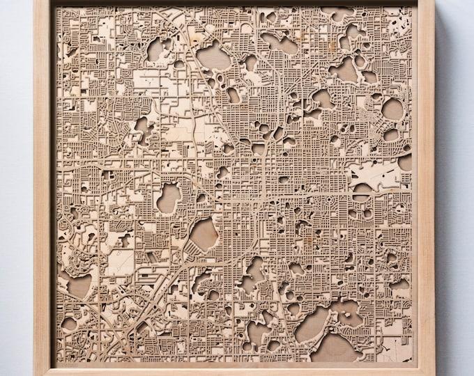 Orlando Wooden Map -Laser Cut Wood Streets City Maps 3d Framed Minimal Minimalist Wall Art - Birthday Anniversary Christmas Wedding Gift