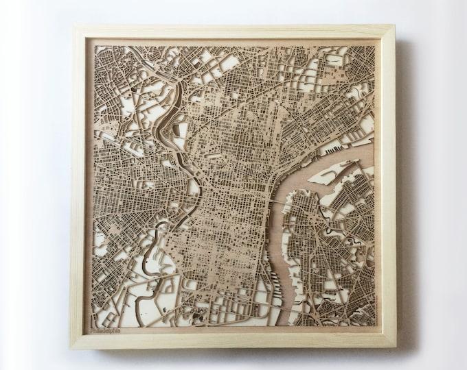 Philadelphia Wooden Map - Pinewood Laser Cut Streets City Maps 3d Framed Minimal Minimalist Wall Art Wood - Birthday Christmas Wedding Gift