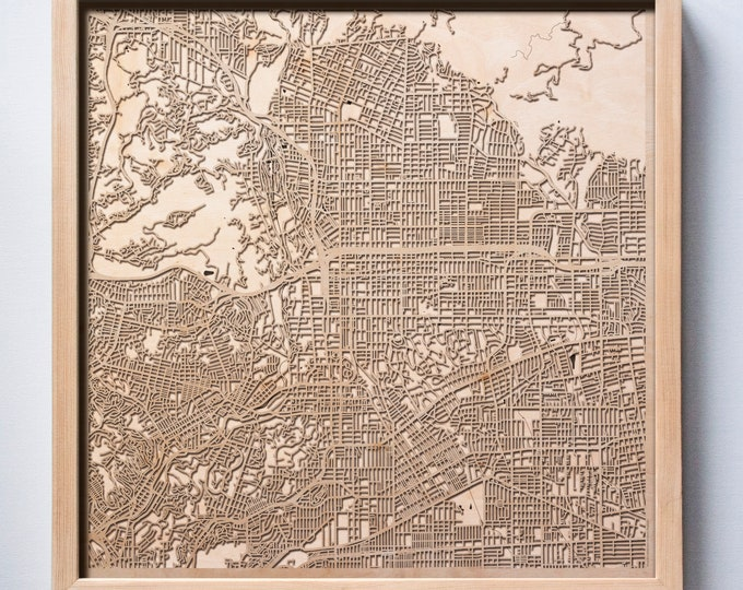 Pasadena Wooden Map -Laser Cut Wood Streets City Maps 3d Framed Minimal Minimalist Wall Art - Birthday Anniversary Christmas Wedding Gift