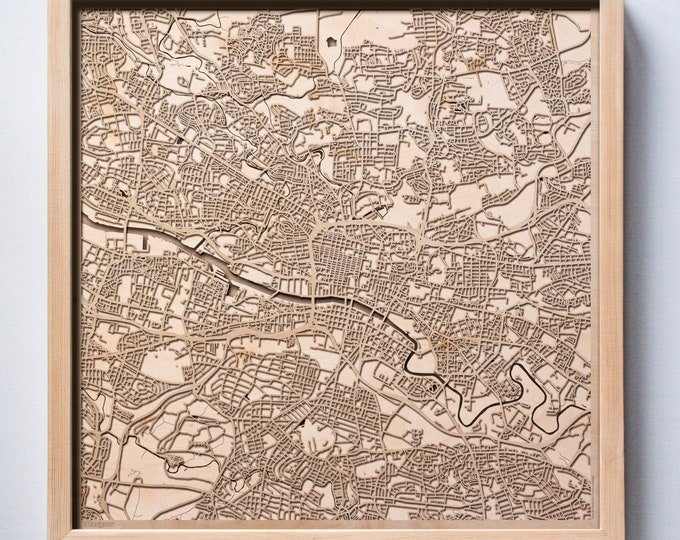 Glasgow Wooden Map -Laser Cut Wood Streets City Maps 3d Framed Minimal Minimalist Wall Art - Birthday Anniversary Christmas Wedding Gift