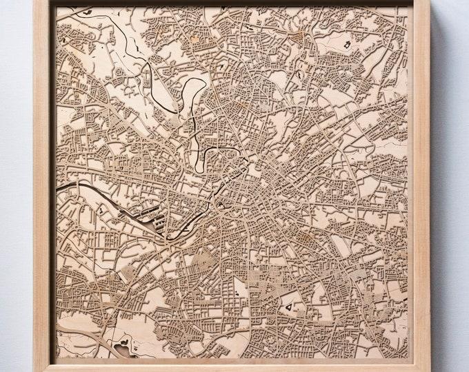 Manchester Wooden Map -Laser Cut Wood Streets City Maps 3d Framed Minimal Minimalist Wall Art - Birthday Anniversary Christmas Wedding Gift