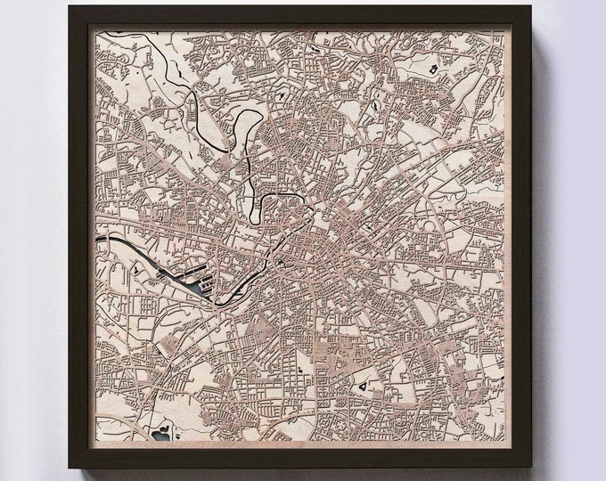 Manchester Wood Map - 5th Anniversary Gift - Custom Wooden Map Laser Cut Framed Maps Wall Art - Wedding Engagement Gift for Couple