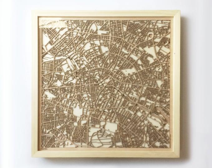 Berlin Wooden Map - Pinewood Laser Cut Wood Streets City Maps 3d Framed Minimal Minimalist Wall Art -Birthday Christmas Wedding Gift