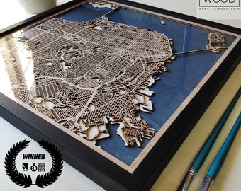 5th Anniversary Gift Wooden Map - Custom City Map - Laser Cut Wood Map