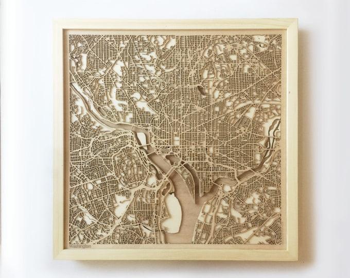 Washington Wooden Map - Pinewood Laser Cut Streets City Maps 3d Framed Minimal Minimalist Wall Art Wood - Birthday Christmas Wedding Gift