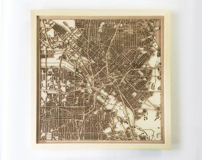 Dallas Wooden Map - Pinewood Laser Cut Streets City Maps 3d Framed Minimal Minimalist Wall Art Wood - Birthday Christmas Wedding Gift